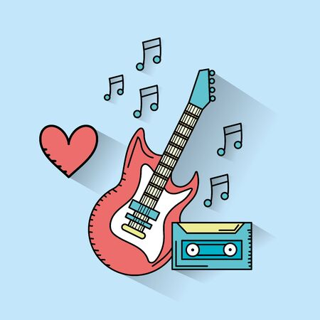 electric guitar musical instruments and cassette to play music vector illustration Illustration