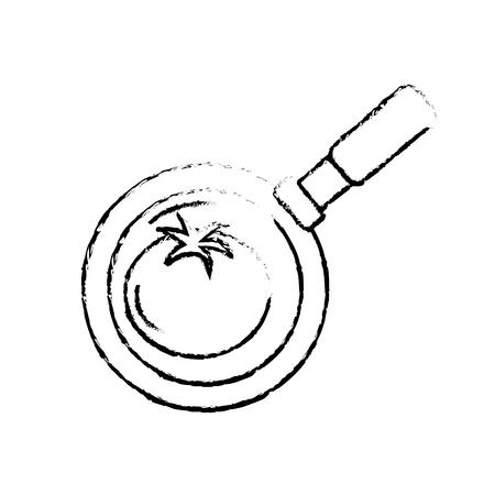 cultivate: figure tomato vegetable inside skillet pan vector illustration Illustration