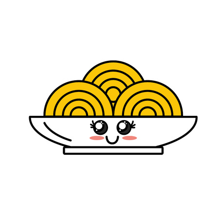 cute happy plate with spagetti inside vector illustration