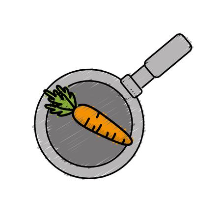 carrot vegetable inside skillet pan vector illustration