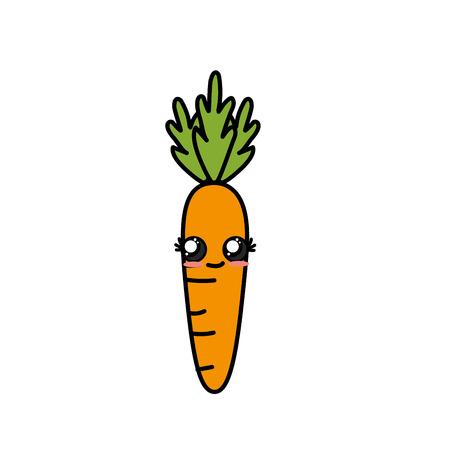 cute tender carrot vegetable vector illustration