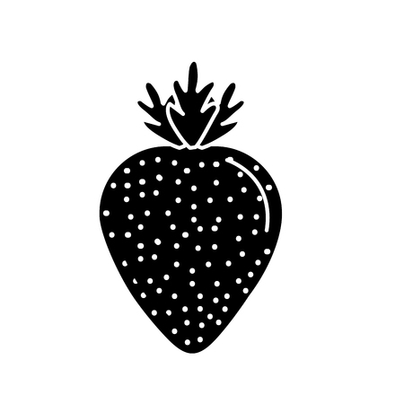 contour delicious and healthy strawberry fruit vector illustration