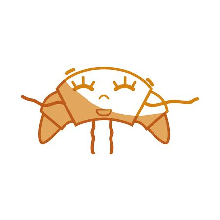 personage: silhouette kawaii cute happy croissant food vector illustration