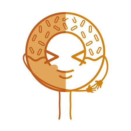 personage: silhouette kawaii cute funny donut dessert vector illustration Illustration