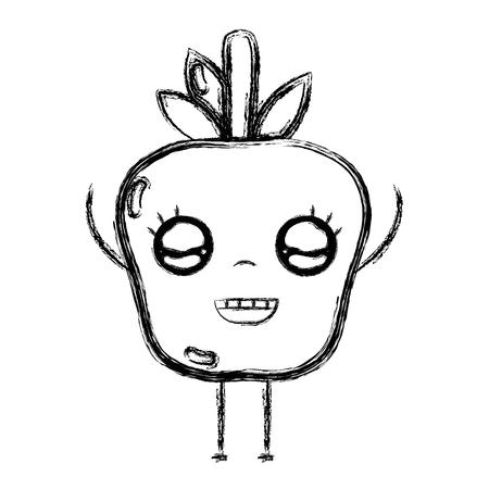 personage: figure cute happy apple fruit vector illustration