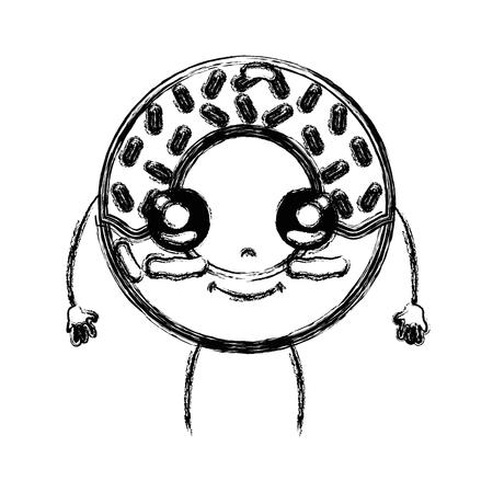 figure cute happy donut dessert vector illustration