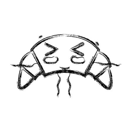 personage: figure cute funny croissant food vector illustration