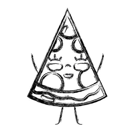 personage: figure kawaii cute happy slice pizza food vector illustration