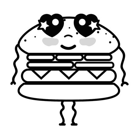 line kawaii cute tender humburger food vector illustration Illustration