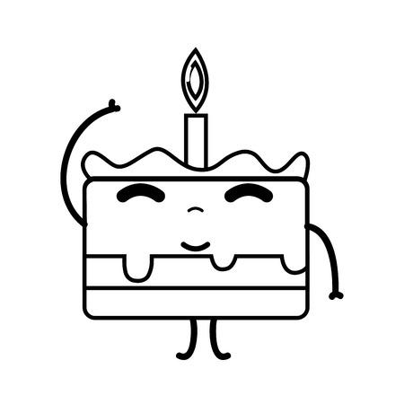 line cute happy cake dessert