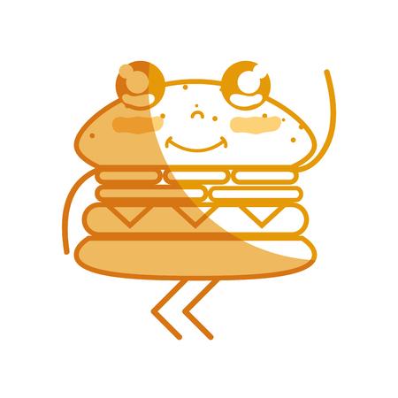 personage: silhouette cute happy hamburger food