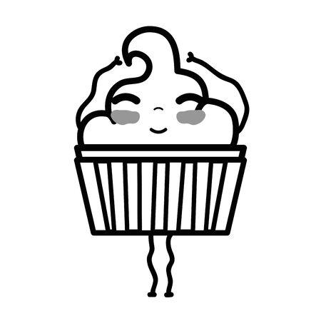 line cute happy muffin dessert Illustration