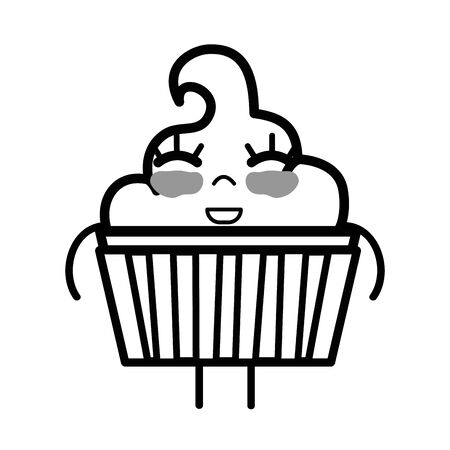 personage: line cute happy muffin dessert Illustration