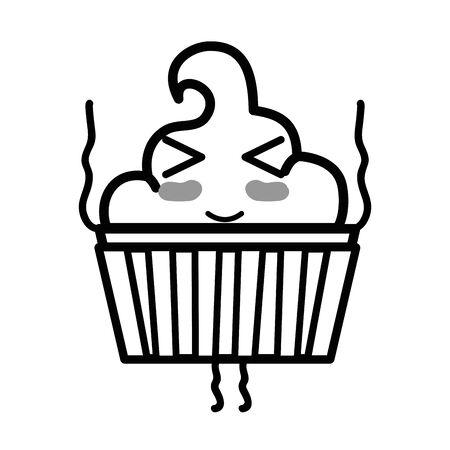 silhouette cute funny muffin dessert Illustration