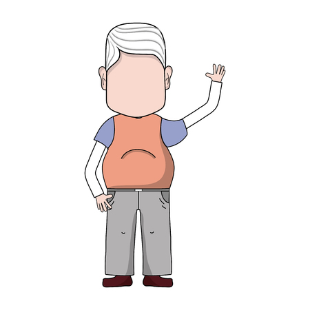 old man with hairstyle and casual clothes Illustration
