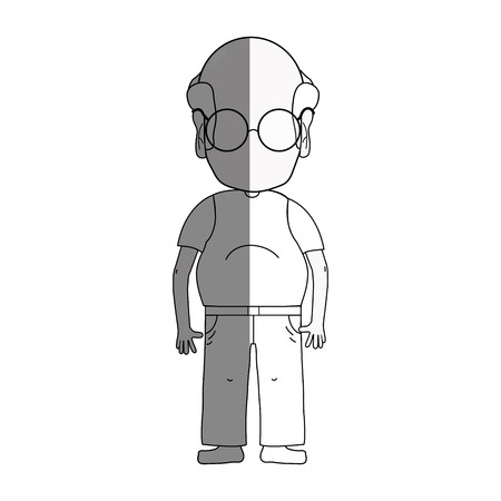 granddad: line old man with hairstyle and casual clothes Illustration