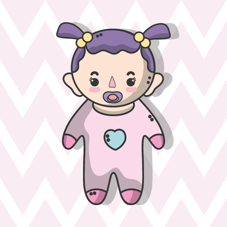 cute baby girl with hairstyle Illustration