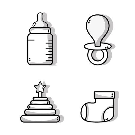 soothers: set cute babies tools icons