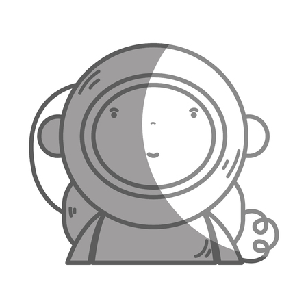 personage: silhouette nice astronaut with equipment to avatar vector illustration Illustration