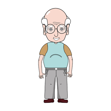granddad: old man with hairstyle and casual clothes vector illustration Illustration