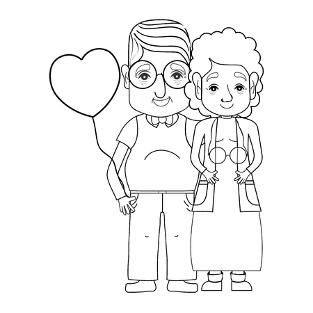 granddad: line old coupe people with glasses and hairstyle vector illustration Illustration