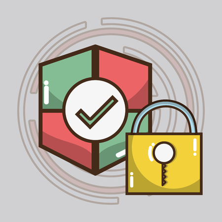 smartphone apps: technology shield and padlock services icons vector illustration