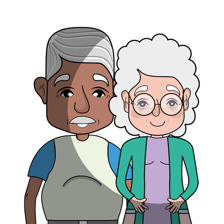 old couple people with glasses and hairstyle