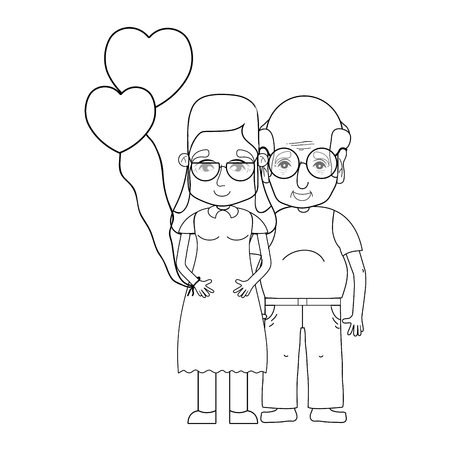 granddad: line old couple people with glasses and hairstyle Illustration