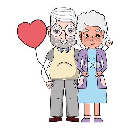 old couple people with glasses and hairstyle vector illustration Illustration