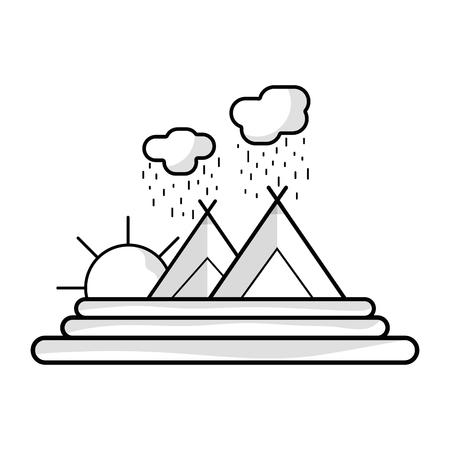 line cloud raining with mountain and sun vector illustration Illustration