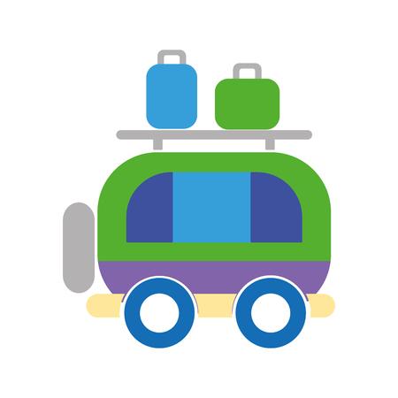 automobile door: van transportation with bags to travel vector illustration