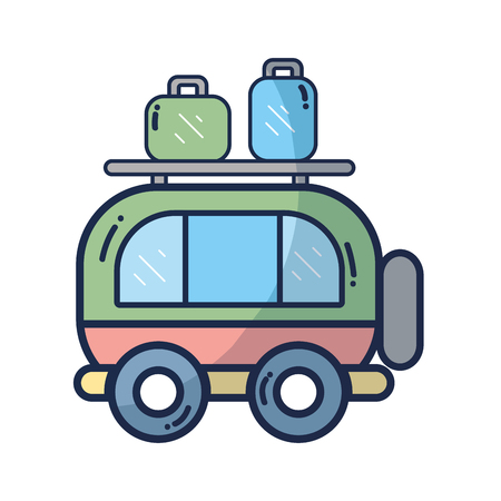 car tire: van transportation with bags to travel Illustration
