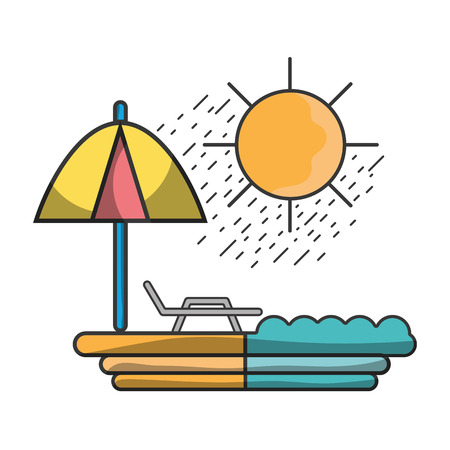 sun seat with umbrella to vacation vector illustration