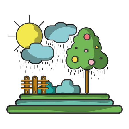 clouds raining with tree and grid wool vector illustration Illustration