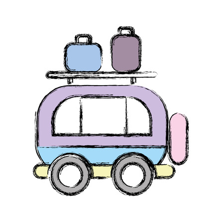 sunroof: van transportation with bags to travel Illustration