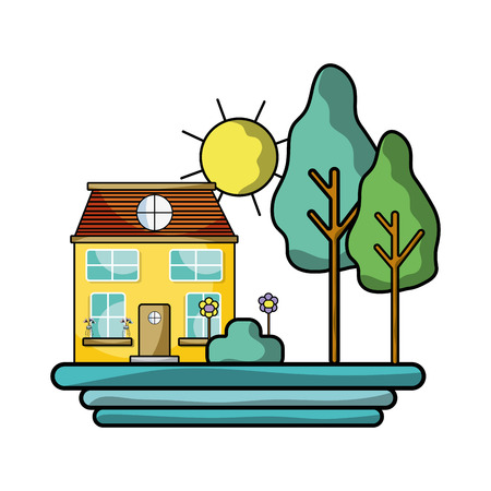 house with trees and plant with flowers and sun