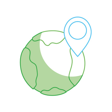 silhouette earth planet with point with location vector illustration Illustration