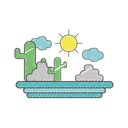 cactus with sun natural aventure Illustration