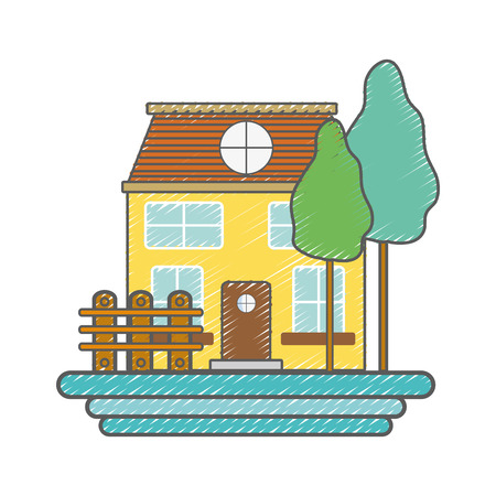 beutiful house with grid wood Illustration