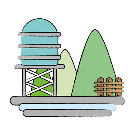 mountains with water tank towel and grid wood