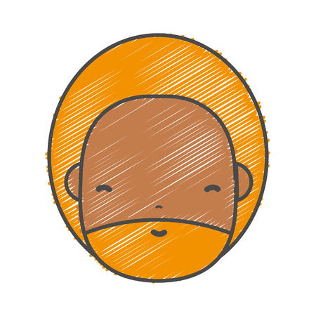 personage: man face with beard and hairstyle to avatar kawaii