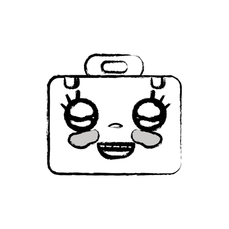 personage: figure kawaii cute happy briefcase and medical kit