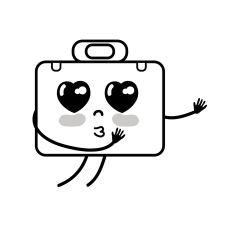 personage: contour kawaii cute tender briefcase and medical kit