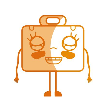 personage: silhouette kawaii cute happy briefcase and medical kit vector illustration
