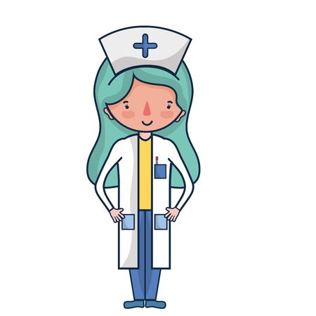 professional nurse with hat in the head vector illustration Illustration