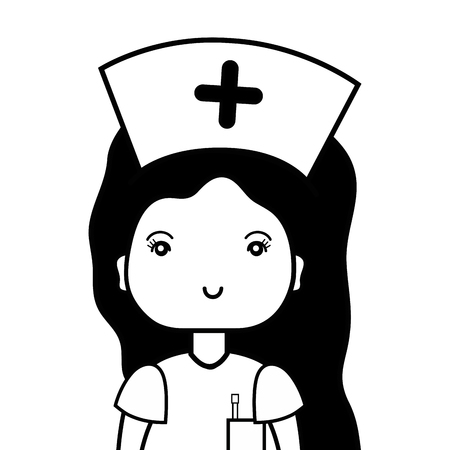 contour professional nurse with hat in the head vector illustration Illustration