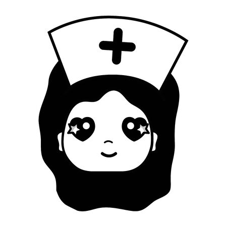 urgency: contour kawaii professional nurse face with hat in the head vector illustration