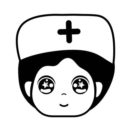 contour kawaii specialist man head with medical hat vector illustration