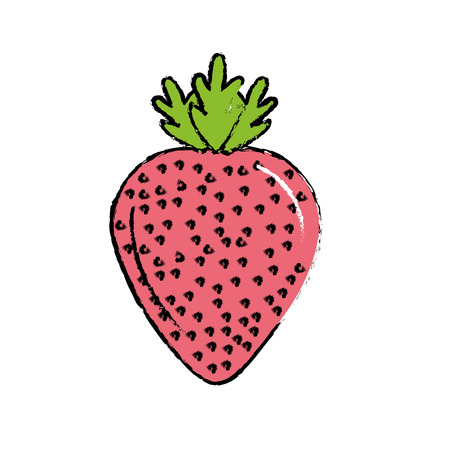 A delicious and healthy strawberry fruit, cartoon illustration.