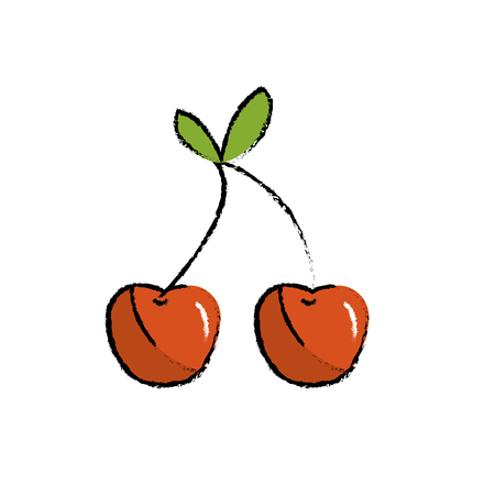 A cartoon illustration of delicious and healthy cherry fruit.